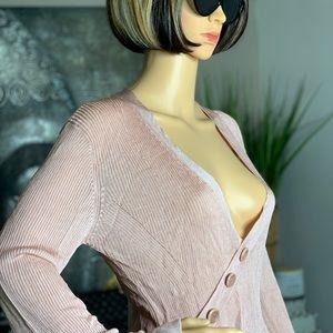 House of CB Blush Pink Ribbed Knit Bodysuit